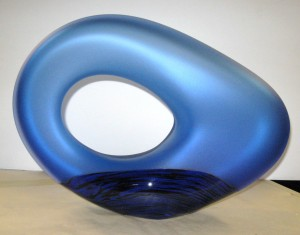 Blue Glass Sculpture by Bernard Katz