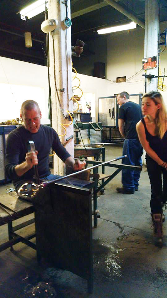 Bernard Katz Glass Studio hosted final glassblowing party with former glass assistants.