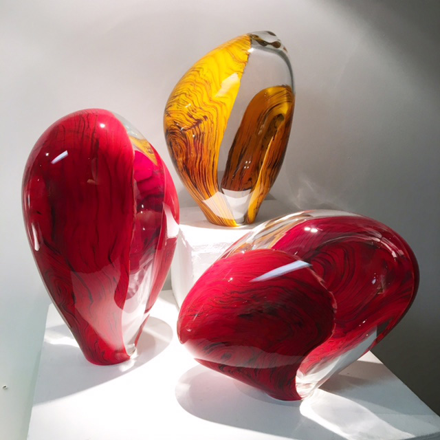 trio art glass sculptures