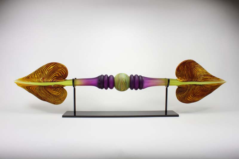 Contemporary art glass sculpture the Amethyst and Lime Austral with Ring Inclusion by Gartner Blade Glass.