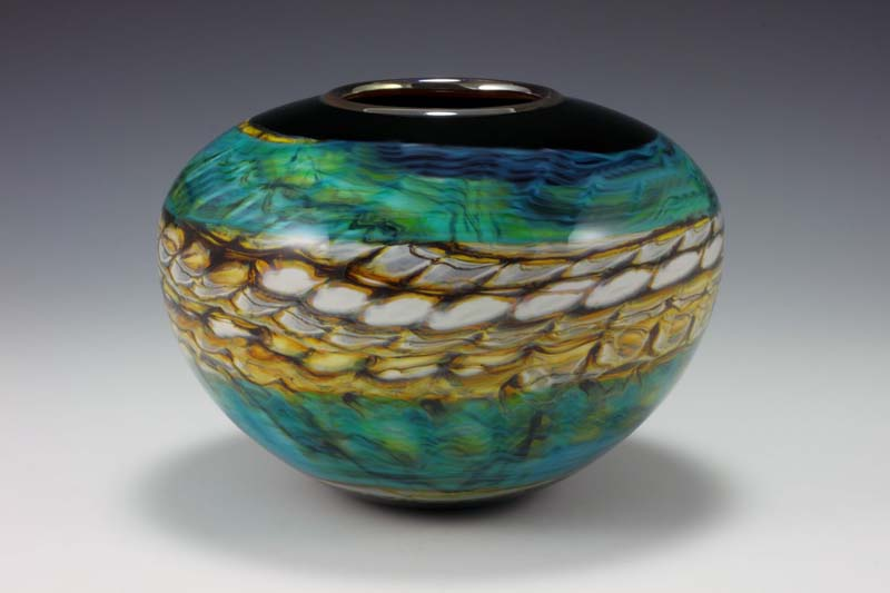 Hand Blown Glass art Opal Sphere Vase by Gartner Blade Glass