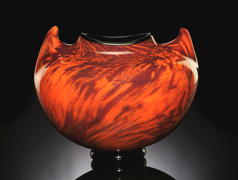 SeptaraCoral Orange Hand Blown Glass Vase