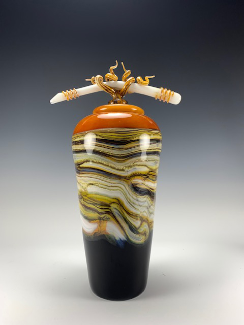 Strata Glass Tangerine Jar