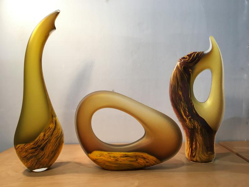 Yellow Gold Glass Sculptures