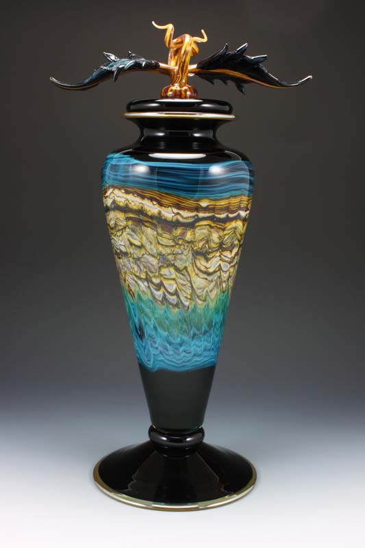 Black Opal Footed Vessel with Avian Finial