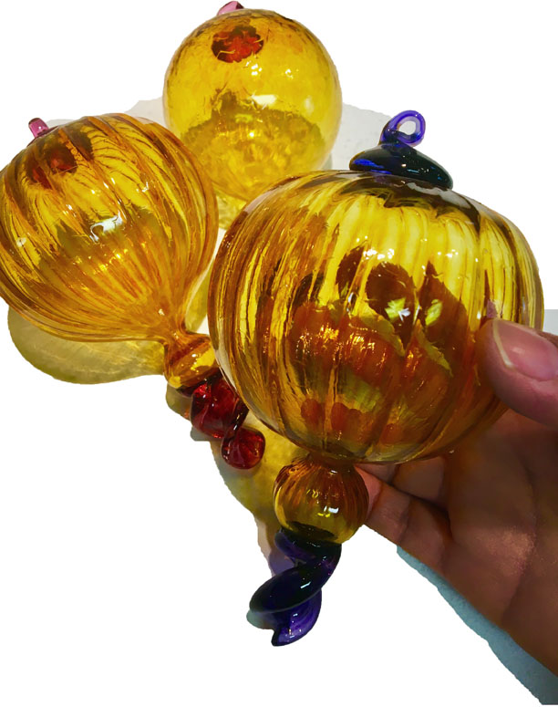 Fancy hand blown glass ornaments
