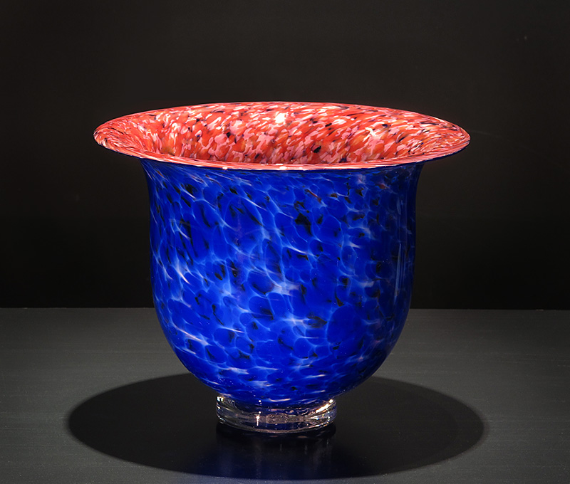 Red and Cobalt Blue Frit Bowl