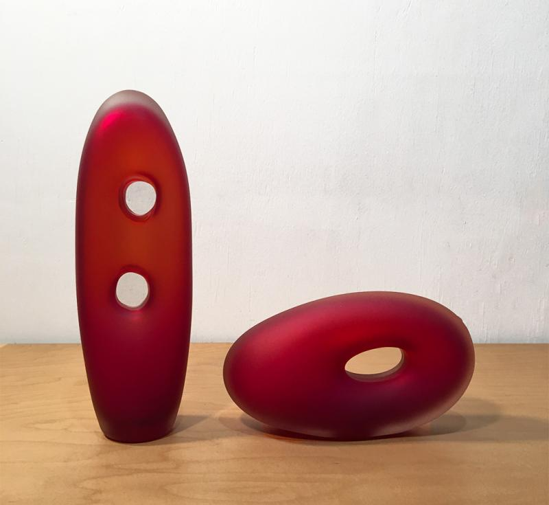 Red Muno and Tulum Glass Sculpture
