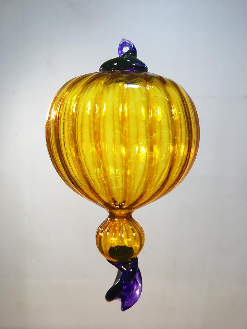 Gold Purple Fancy Glass Ornament