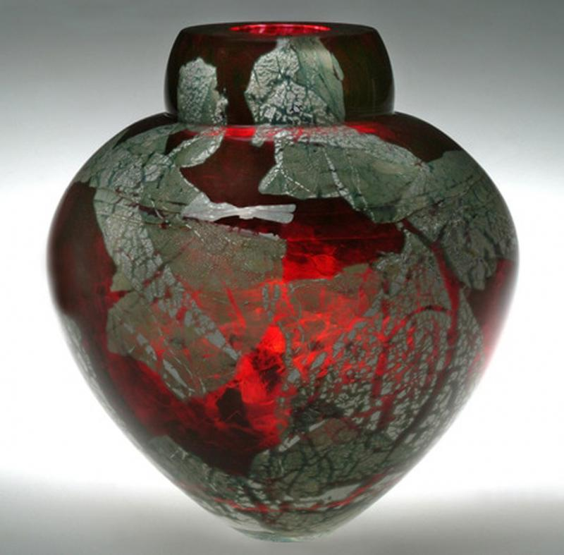 Gold Ruby Glass Vase