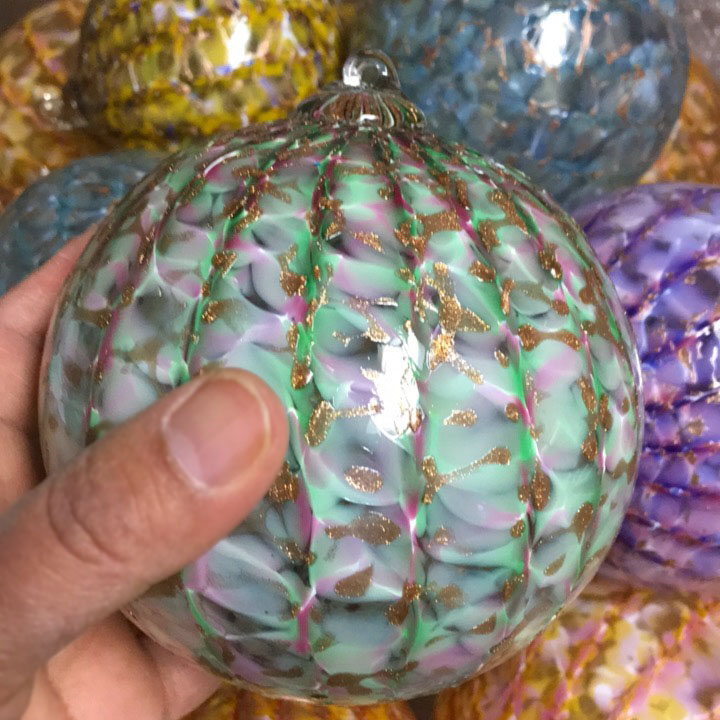 Green and Pink Hand Blown Glass Ornament