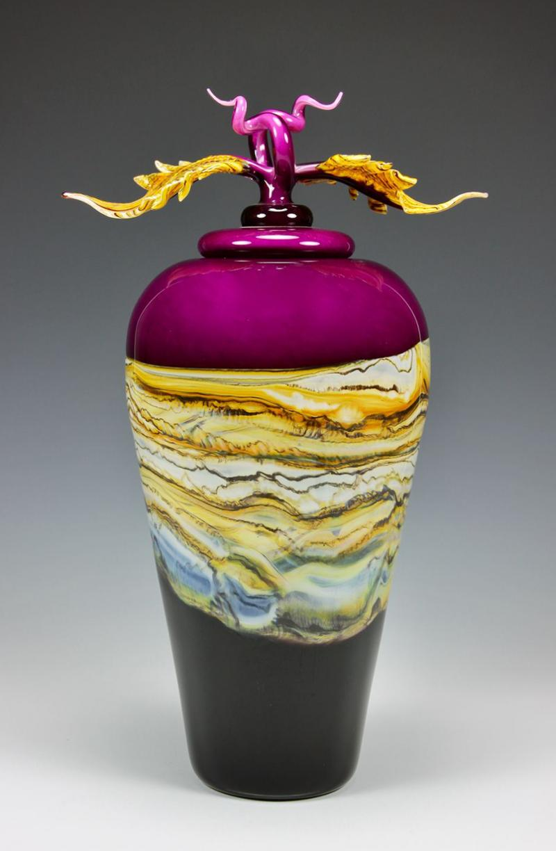 Reddish Amethyst Strata Covered Vessel