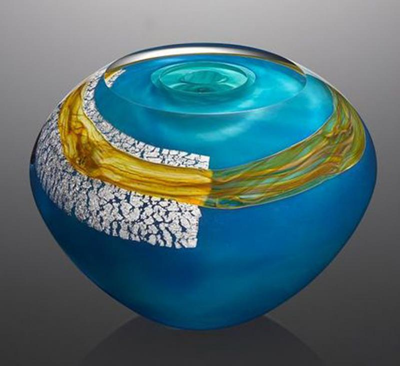 Mykannos Fountainbleu Glass Vase