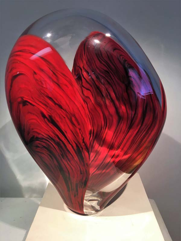 Red and Clear Art Glass Sculpture