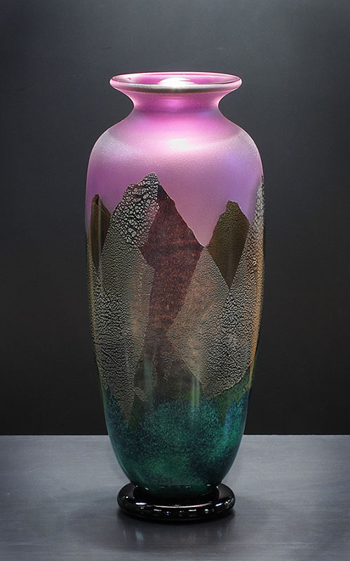 Reddish Ameythst Tall Mountainscape Vase