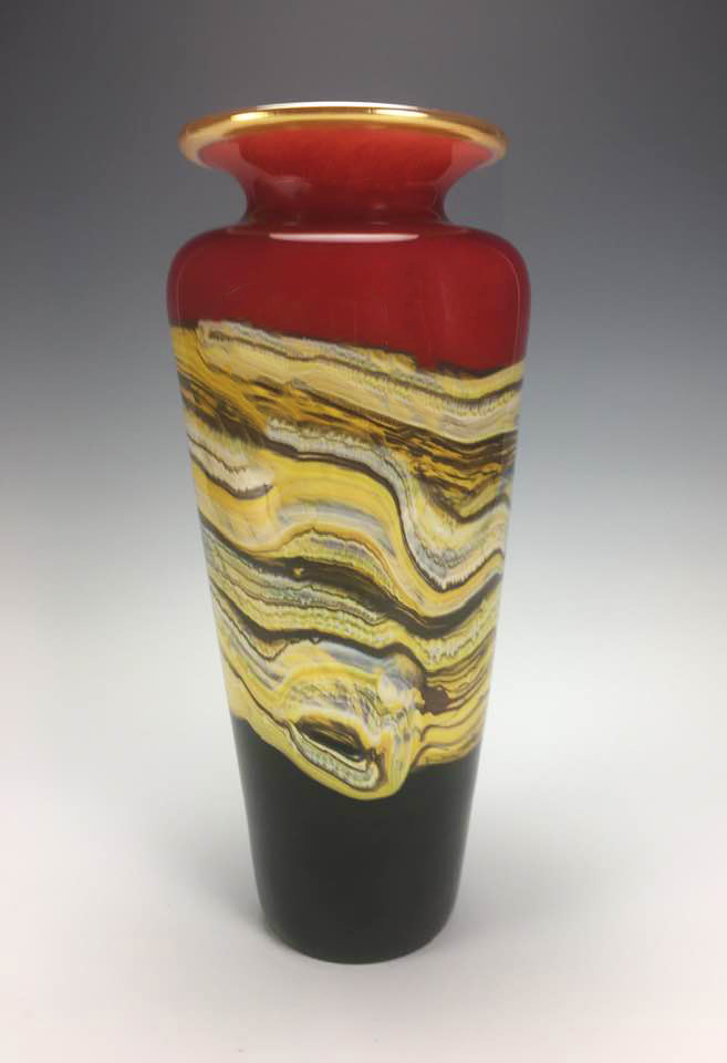 Ruby Strata Glass Vessel