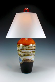 Tangerine Table Glass Lamp