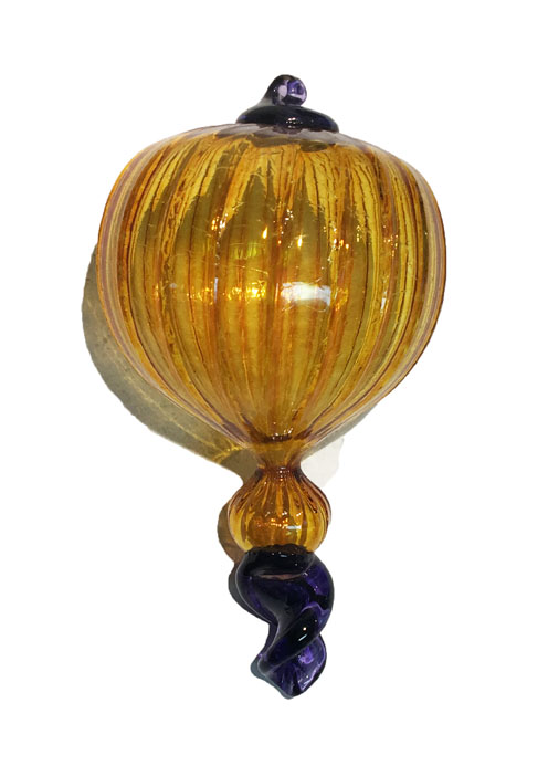 Fancy Yellow Purple Glass Ornament